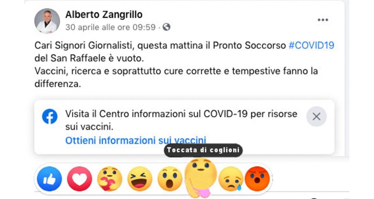 Facebook lancia reaction con mano che stringe i coglioni per commentare i post di Zangrillo
